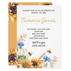 Featuring neutral mustard colours and beautiful watercolour sunflowers and bees, this invitation is suited to both a boy and girls baby shower celebration. Honey Sunflower Bee Baby Shower Invite Invitation Sprinkle Custom Invitations, Baby Shower Invitations, Invitation Cards, Party Invitations, Invite, Watercolor Sunflower, Watercolour, Paper Design, White Envelopes