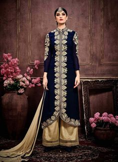 Navy Blue Colored Party Wear Suit