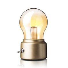 Créatif Retro Bulbe Lampe par Adooo – Rechargeable Sans Fil LED Night Lights USB de Recharge Lampe 3 Watts Lampe de Chevet Décor, Lumière…