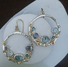 Gold and Silver Aquamarine and Sapphire Hoop by LynnChappell, $375.00