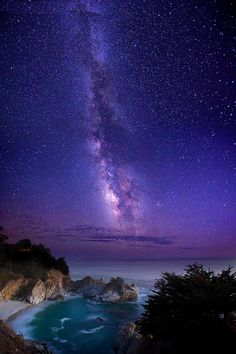 The Infinite Meadows of Heaven: Milky Way over McWay Falls by Della Huff