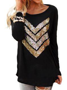 Fashionable Casual Women Long Sleeve O Neck Sequin T-Shirt Online - NewChic