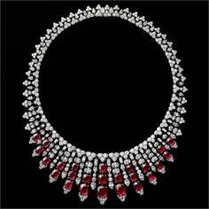 Necklace, platinum, 25 Burmese rubies totaling 55.00 carats, pear-shaped diamonds, oval diamonds, baguette-cut diamonds, brilliant-cut diamonds.