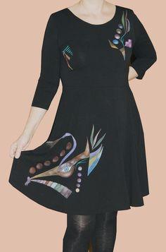 Vestido negro de mujer dibujo abstracto de Pat-Pil por DaWanda.com