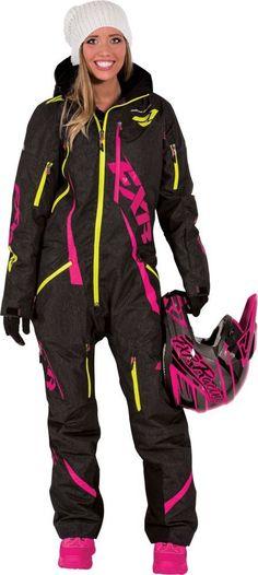 FXR Racing Maverick Womens Snowmobile Monosuits - Black