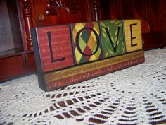 LOVE Decorative Wooden Block Set Handmade by arborfieldmanor
