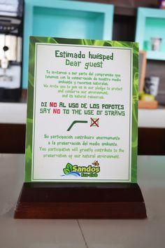 At Sandos, we say NO to the use of straws.  Let's avoid contamination. #IAmTheChange www.sandos.com En Sandos, decimos NO al uso de los popotes.  Evitemos la contaminación. #YoSoyElCambio