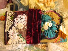 """crazy quilt sewing """"wallet"""" made with silks, laces and vintage buttons by Janie @ crazyvictoriana.blogspot.com"""