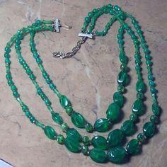 Green vintage beaded necklace Hong Kong | vintage plastic jewellery | Jewels & Finery UK