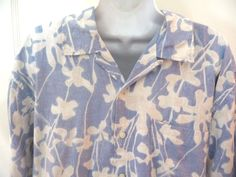Nautica Mens Hawaiian Shirt L Large Blue Floral 100% Silk #Nautica #Hawaiian