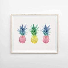 Pineapple Trio Archival Pineapple Print 8x10 5x7 9x12 by LunaReef