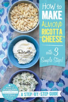 "A delectable gluten free and vegan alternative to ricotta cheese. This almond ricotta ""cheese"" can be made in 3 simple steps."