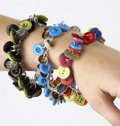 recycled button dangle bracelets