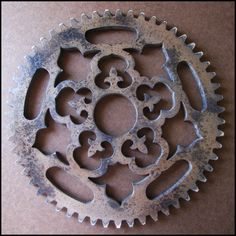 Distressed Painted Ornate Gear wall art