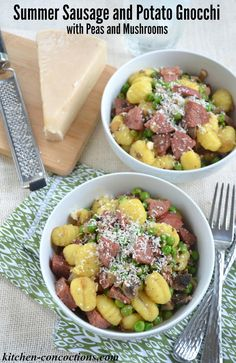 Summer Sausage and Potato Gnocchi with Peas and Mushrooms Recipe- This family friendly meal costs less than $10 and whips up in under 30 minutes. AD #MakeItDelish