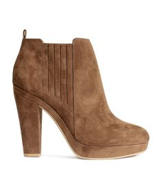 Ankle boots in imitation suede with a small platform and covered, elasticized side panels. | H&M Shoes