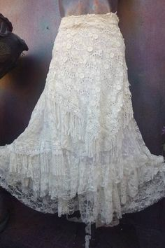 wedding skirt,tattered skirt, stevie nicks, bohemian skirt, boho skirt, gypsy skirt, lagenlook skirt,OAK, shabby wrap skirt.. she,s an absolutely gorgeous bohemian wrap around shabby skirt in ivory hues kissed with assorted laces,bridal laces,netting,rose trims,crochet,butterflies and