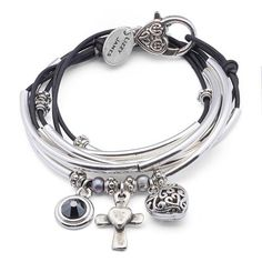 Charmer wrap bracelet-necklace in Natural Black leather with Puffed Heart Cross Heart Black Crystal charm trio, comes as shown