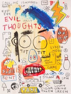 Typography in fine art: 100 exciting examples you can acquire. Typography in fine art: 100 exciting Jean Basquiat, Jean Michel Basquiat Art, Basquiat Paintings, Basquiat Artist, Art Brut, Outsider Art, Warhol, Art World, Gouache