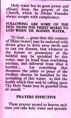 On the Importance and Benefits of Holy Water