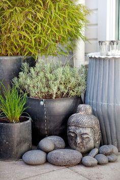 Magical and Peaceful Zen Garden Designs and Ideas garden pots Bali Garden, Balinese Garden, Zen Rock Garden, Container Water Gardens, Container Gardening, Gardening Vegetables, Fresh Vegetables, Zen Garden Design, Landscape Design
