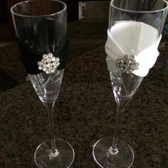 Crystal his & her toasting glasses