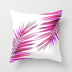 pink palm leaf II Throw Pillow by blackpool - $20.00