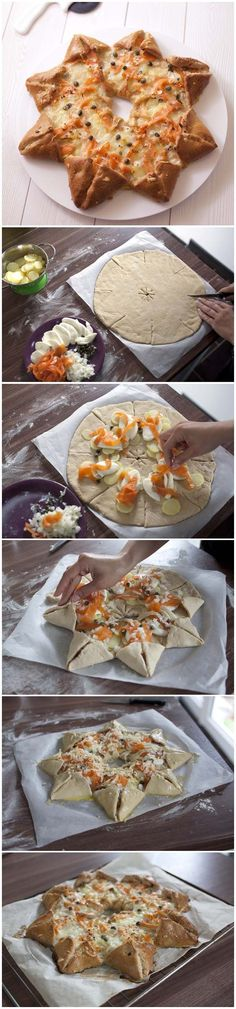 use pizza dough and any filling of choice.I think this technique would be good using a pie crust and pie filling, closing the points a little bit.This says: Pizza étoile des neiges au saumon fumé et pommes de terre Star Pizza, Fingers Food, Salty Foods, Ramadan Recipes, Diy Food, No Cook Meals, Food Inspiration, Love Food, Food Porn