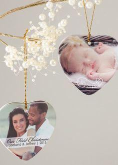 Deck the halls with personalized Christmas ornaments! The perfect gift for a newlyweds or baby's first Christmas.