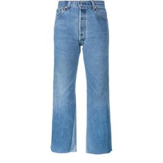 Re/Done 'Leandra' jeans (2781665 PYG) ❤ liked on Polyvore featuring jeans, pants, bottoms, calça, blue, vintage blue jeans, high waisted jeans, high rise jeans, high-waisted jeans and flared jeans