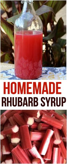 This homemade rhubarb syrup requires 3 simple ingredients and is delicious when added on top of yogurt, in beverages or drizzled over ice cream. Rhubarb Syrup, Homemade Seasonings, Homemade Sauce, Veggie Recipes, Sweet Recipes, Soda Stream Recipes, Cocktail Recipes, Recipes