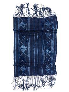 African Indigo Throw, Has fringe! Vintage indigo mud cloth by MorrisseyFabric on Etsy