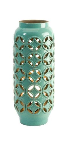 The Calvinia cutwork lamps feature cream and mint finishes over modern geometric cutwork patterns. I Available at Rug & Home I #geometric #mint #lantern #outdoor
