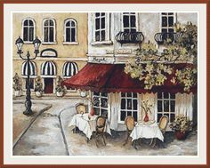 Daytime Cafe 2 Counted cross stitch pattern in di Maxispatterns