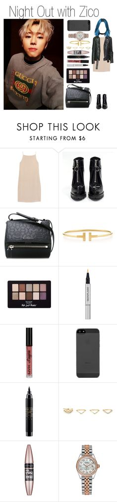 """""""Night Out with Zico"""" by yonce4park ❤ liked on Polyvore featuring T By Alexander Wang, Prada, Atsuko Kudo, Givenchy, Tiffany & Co., Revlon, Christian Dior, NYX, MAC Cosmetics and Charlotte Russe"""
