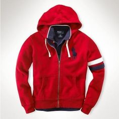 Ralph Lauren Big Pony Full-Zip Fleece Hoodie in Red,Classic-fitting full c6b0255c8449