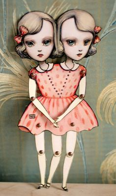 You Are So Special - The Conjoined Twins - articulated paper kit doll by Mab Graves $15