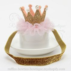 This sweet tiara headband is made with your princess in mind! Perfect for her birthday or just because!