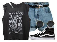 """R o c k d e s t r o y s m i n d s ☽"" by anny15fashion ❤ liked on Polyvore featuring Retrò, R13 and Vans"