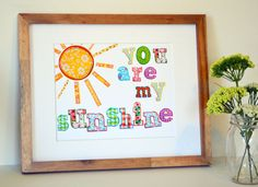 You are my sunshine 11 x 14 print- colorful nursery art- baby girl nursery print- bright print- toddler room- big girl room print