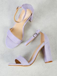 Shop Single Band Open Toe Faux Suede Block Heel with Thin Ankle Strap LILAC online. SheIn offers Single Band Open Toe Faux Suede Block Heel with Thin Ankle Strap LILAC & more to fit your fashionable needs. Fancy Shoes, Pretty Shoes, Cute Shoes, Lilac Heels, Purple High Heels, Lavender Shoes, Dr Shoes, Shoes Heels, Heeled Sandals