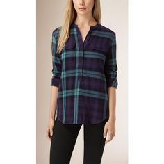 Burberry Check Wool Cotton Tunic Shirt (21.640 RUB) ❤ liked on Polyvore featuring tops, tunics, purple checkered shirt, purple tunic, checked shirt, mandarin collar shirt and purple top