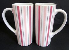 Pink Ribbon Breast Cancer Striped Cafe Latte Mugs Set 2 Food Network Philly Nay