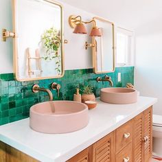modern double pink vanity sink with green tiles bathroom decor # . - modern double pink vanity sink with green tiles bathroom decor # … # bathroom - Pink Vanity, Vanity Sink, Tile Steps, Interior Minimalista, Bright Homes, Bad Inspiration, Unique Lamps, Bathroom Interior, Bathroom Green