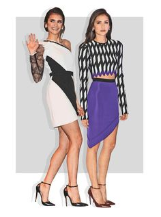 The actress looked amazing in a one-shoulder black and white minidress.  Nina Dobrev has been busy promoting her upcoming movie,xXx: Return of Xander Cage, and she's been stepping out insome great looks while doing so.  The long-sleeved, black-and-white patterned crop top with purple zigzag trim went