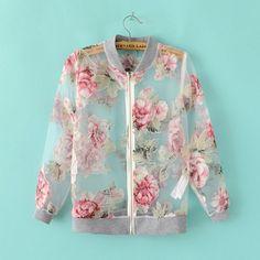 Fashion See Thru Flower Floral Zip Biker Blouson Baseball Bomber Jacket Blazer D Jackett, Print Jacket, Women's Dresses, Fashion Outfits, Womens Fashion, Ladies Fashion, Fashion News, Sweater Jacket, Cute Outfits