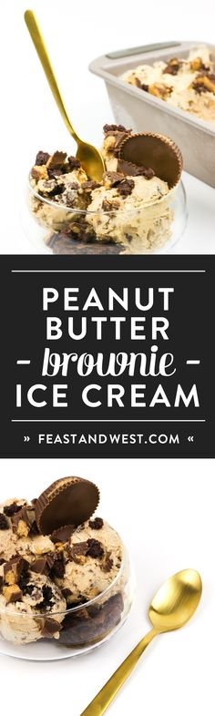Peanut Butter Brownie Ice Cream is the stuff dreams are made of — if you love peanut butter and chocolate together. Lucious, creamy peanut butter ice cream is studded with fudgy brownie chunks and peanut butter cup pieces. Homemade Desserts, Best Dessert Recipes, Fun Desserts, Peanut Butter Ice Cream, Peanut Butter Brownies, Brownie Ice Cream, Trifle Pudding, Love Ice Cream, Fudgy Brownies