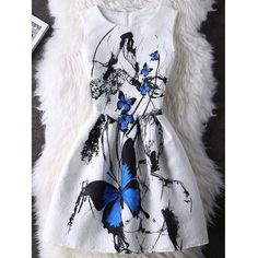 Just US$9.38, buy White Graceful Butterfly Pattern High Waist Skater Dress online shopping at GearBest.com Mobile.