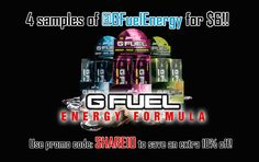4 samples of @GFuelEnergy for $6! Xtra 10% off w/code:Share10 - GFUEL is the premier energy formula Made by Gamers for Gamers. Try 4 samples of @GFuelEnergy for only $6! Use code:SHARE10 for an extra 10% off!