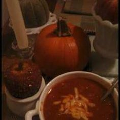"Pumpkin Chili Allrecipes.com    This is a keeper!  Try adding just a bit of ""heat,"" too."